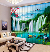 Wholesale Hotel Landscaping - custom modern living room curtains Tiger Falls landscape curtains decorative beads curtains 3d photo home goods curtain