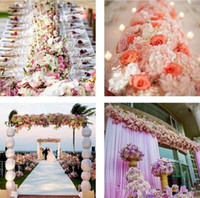 blumenschmuck für bogen großhandel-Blume Hochzeit Straße Blei Blumen Lange Tischdekoration Blume Bogen Türsturz Seide Rose Hochzeitshintergründe Dekoration