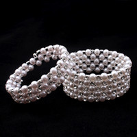 Wholesale vintage pearl clasps for sale - Clear bridal White Rhinestone Pearls Stretchy Chain Vintage Prom Wedding Party Bracelets Bridal Jewelry Accessories One Piece