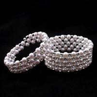 beyaz berrak bilezik toptan satış-Temizle gelin Beyaz Rhinestone İnci Sıkı Zincir Vintage Balo Düğün Parti Bilezikler Gelin Takı Aksesuarları Tek Parça