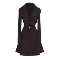 casacos de lã preto longo de lã venda por atacado-O revestimento longo morno da Lã das mulheres NOVAS pretas da forma de ROWI Outwear