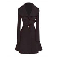 schwarze lange wolle frauen mäntel großhandel-ROWI Black NEW Fashion Damen Wolle warme lange Mantel Outwear