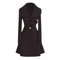 abrigos de lana largos negros para mujer al por mayor-ROWI negro NUEVA moda para mujer LANA cálido abrigo largo Outwear