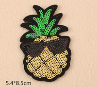 Wholesale Pineapple Clothes - Cool pineapple wearing Glasses (5.4*8.9cm ) embroidered patches for sewing Bag clothing patches iron on sewing accessories applique