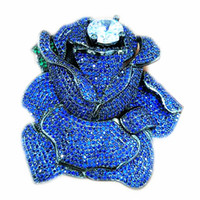 ingrosso gioielli connettori fiore-intera venditaBlue CZ Micro Crystal Pave Rose Flower Jewelry Brooch Connector 60x62mm