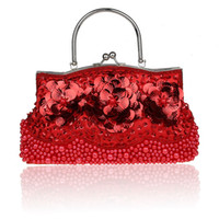 sac de soirée perlé rouge achat en gros de-Sac à main en perles à paillettes pour dames rouges sac de soirée de mariée avec épaule chaîne sac à main maquillage livraison gratuite 1323-F