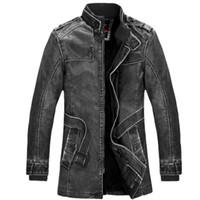 siyah kahverengi katlar toptan satış-Kış Deri Ceket erkek Rahat Moda Ceketler Yaka Siyah ve Kahverengi Fermuar Faux Kürk Erkekler Yüksek Kaliteli Ceket