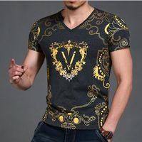 las mejores camisetas de marca para hombre. al por mayor-Diseñador de la marca Best Men T Shirt 2017 Summer Famous Brand T-Shirt Fashion Slim Fit Luxury T Shirt Plus Size manga corta con cuello en V
