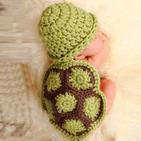 Wholesale peach baby clothes resale online - Cute Baby cartoon animal tortoise hat costums photograph prop handmade newborn animal hat clothes crochet infant cloak set