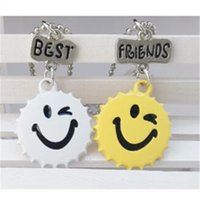 Wholesale Silver Smile Charms - 12pair lot best friends necklace silver tone beautiful colorful smile face charm BFF pendant necklace Children's day gift