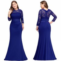 Wholesale plus size maternity special occasion dresses for sale - Cheap Black Mermaid Long Evening Dresses Satin Lace O Neck Zipper Up Floor Length Vestidos Noche Prom Gowns Under CPS613