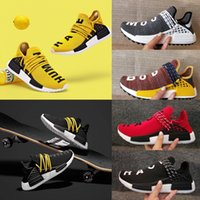 Wholesale Hot Inks - 2018 Hot Pharrell Williams X NMD Women Men Running Shoes Human Race NMD Sports Shoes Athletic Outdoor Shoes Noble Ink Yellow Blue Wholesale