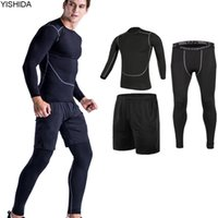 Wholesale spandex slimming suits - workout 3pcs Gym Suits men's Sport Suites Running Tights Fitness Training Jogging Compression Running Suits Tracksuits slim suit