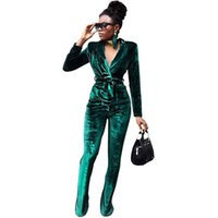 women s down pants 2018 - Winter Velvet Suit Womens Tracksuits Two Piece Sets Long Sleeve Turn Down Collared Jacket Tops +Long Pants Ladies Trouser Suits