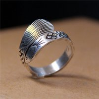 Wholesale Sterling Dragon Ring - designer jewelry fashion charm 925 sterling silver ring female Handmade Golden dragon fish floret men couple vintage wholesale china direct