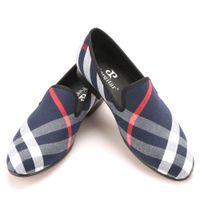 Wholesale men's slip canvas shoes for sale - Blue and white plaid canvas shoes luxurious brand men loafers black pig leather insole men s casual shoes men s flats