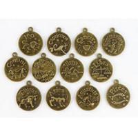 ingrosso braccialetto bronzo cabochon impostazione-120pcs bronzo anticato impostazione cabochon cammeo base vassoio lunetta zodiacale costellazioni pendenti misura 20mm cabochon bracciali gioielli regalo