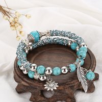 Wholesale Turquoise Bead Strand Necklace - Bracelets Bangles For Unisex Women Men Buddhist Natural Stone Bracelet Necklace Strands Charms turquoise Beads Bracelets