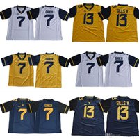 maillot de football bleu 13 achat en gros de-2018 New West Virginia Mountaineers WVU n ° 7 va porter le gant 13 David Sills V vierges blanc bleu jaune cousu XII Maillots de football universitaire NCAA