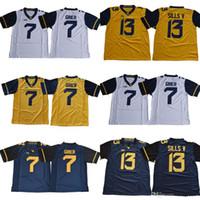 boş beyaz mayo toptan satış-2018 Yeni Batı Virginia Dağcılar WVU # 7 Will Grier 13 David Sills V Boş Beyaz Mavi Sarı Dikişli XII NCAA Kolej Futbol Formalar
