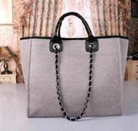 143b2d87c9ad4 2018 moda Ünlü moda markası kadın çanta Tuval Omuz çantası büyük kapasiteli  çanta zincirleri