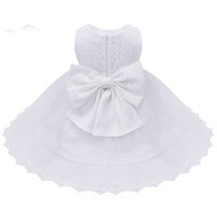 ingrosso abito bianco ricamato bambino-Abiti da battesimo per neonata Abiti floreali Abiti da battesimo Neonati Battesimo Ricamato Principessa Compleanno Abiti con fiocco bianco