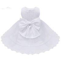 bebek beyaz nakışlı elbise toptan satış-Bebek Bebek Kız Çiçek Elbiseler Vaftiz Önlükler Yenidoğan Bebekler Vaftiz Işlemeli Prenses Doğum Günü Beyaz Yay Elbiseler
