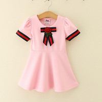 vestidos de rayas rosa niñas al por mayor-Kids Girl Dress 2-6T Baby Girls Striped Bow Dresses 2018 New Pink White Baby Princess Vestido de manga corta para Party Clothing Clothing D440