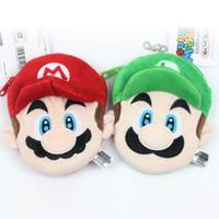 Wholesale Cartoon Mario - Children Mario Coin Purse Kid cartoon plush bags Mario Bros Coin bag cute Pendant C1729