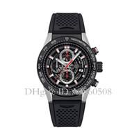 relojes de acero inoxidable al por mayor-Top AAA Calidad Relojes deportivos para hombres 45 MM Correa de goma Reloj de la marca de lujo VK Cronógrafo de cuarzo Todos los punteros de trabajo TG Relojes