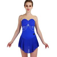 skating kleider für den wettbewerb groihandel-Eiskunstlauf Kleid Frauen Sleeveless Elastizität Strass Blau Eislaufen Kleider Mädchen Wettbewerb Performance Wear ZH8020
