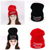 Wholesale beanies knitted kids for sale - Group buy Trump Knitted Hats Winter Cap Kid Elastic Outdoor Boys Girls Presidential Election Hat Skullies Beanies Party Hats CCA10717