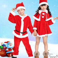 niñas vestidos de santa claus al por mayor-Navidad Romper Boy Girl Xmas Set Niños Vestido de Navidad Niño Santa Claus Traje de Cosplay Traje de Navidad para Niños CCA10307 20set