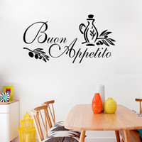 Wholesale modern italian decor resale online - BUON APPETITO wall art sticker italian quote kitchen decal greeting Meal Vinyl Removable Wall Stickers for Restaurant Decor cm