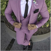 lila krawatten weste großhandel-Coole Bräutigam Tragen Lila Kerbe Revers Bräutigam Smoking One Button Groomsmen Best Man Anzug Herren Hochzeit Anzüge (Jacke + Pants + Weste + Tie)