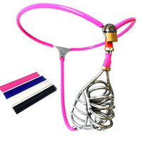 Wholesale model y chastity belt male - 3 Color Male Chastity Device Stainless Steel Chastity Belt Model-Y Invisible Chastity Underpant with Cock Cage Sex Toys for Men G7-4-87