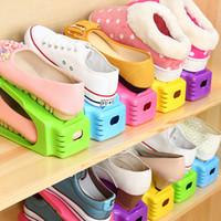 einstellbarer schuhständer großhandel-Schuhregal 2018 Mode Einstellbare Doppel Reinigung Lagerung Schuhregal Platzsparend Praktische Schuhkarton Schuhe Organizer Stand Regal