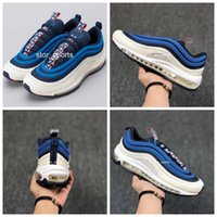 Wholesale red nebula - 2018 Max97 Obsidian University Red-Sail-Blue Nebula Pull Tab Pack Running Shose For Men, Cushion 97 97s AQ4126-400 Sport Sneakers Eur40-46