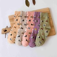 Wholesale colorful art prints resale online - 2017 High Quality Colorful Tube Art Casual Cotton Cartoon Cute Cat Face Thin Section Invisible Funny Socks Women Lady Girls