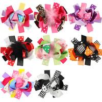 kinder federn für haare großhandel-Weihnachten Baby Mädchen Haarnadeln Halloween Feder Haarspangen Bogen mit Clip Kinder Haarschmuck Kinder Punkt Streifen Haarspangen C4783