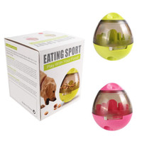 Wholesale smart eggs - Dog Cat IQ Food Ball Pet Interactive Toy Tumbler Egg Smarter Dogs Playing Treat Ball Puzzle Shaking Food Dispensing Feeder Leak
