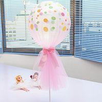 globos de color rosa púrpura blanco al por mayor-Kit de globo de malla con lazo de diamante 12 pulgadas Polka Dot Globos Decoración de la fiesta Suministros de boda Rosa Blanco Púrpura