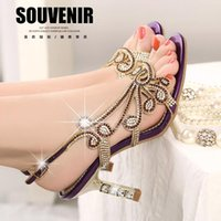 Wholesale Low Heel Sexy Shoe - Genuine leather high-heeled rhinestone sandals 2016 spring summer women's diamond sandals sexy open toe shoes
