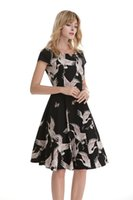 Wholesale swing dress short skirt online - Europe And The United States Swan Print Big Swing Dress Fashion Digital Print V Neck Dress Dess Swan Retro Big Swing Skirt