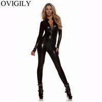 spandex clubwear elbiseleri toptan satış-OVIGILY Kadınlar Seksi Metalik Unitard Catsuits Kızlar Altın Gümüş Siyah Turtleneck Uzun Kollu Tam Zentai Bodysuits Parlak Catsuits