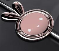 niedlicher kaninchentelefonhalter großhandel-360 grad metall niedlich kaninchen finger ring halter handy ständer halterung für univesal mit kleinpaket
