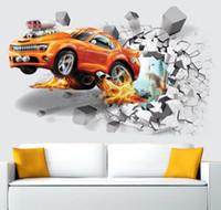 ingrosso bambini auto sportive-Autoadesivi di parete del dinosauro dell'automobile 3D Parete rotta Decalcomania dell'automobile Manifesto della parete Decorazione della stanza dei bambini Favori dei ragazzi