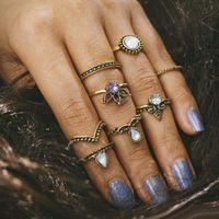 v-förmigen schmuck großhandel-8 teile / satz Edelstein V Form Knuckle Ring Midi Fingerspitze Ringe Frauen Engagemen Ringe Luxus Schmuck Herren Hochzeit Ringe