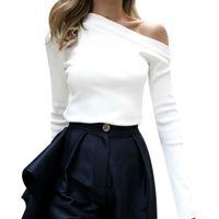 ingrosso camicie coreane sexy-Camicetta a maniche corte da donna con maniche a campana e maniche lunghe a maniche lunghe camicetta bianca Bluse Feminina Z4
