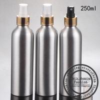 ingrosso gli ugelli della bottiglia di profumo-Nuova bottiglia in alluminio da 20ml, 250ml + ugello tangenziale in oro brillante, spruzzare una nebulizzazione di bottiglie di profumo, bottiglie riutilizzabili